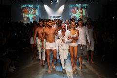 Designer  Jason Scarlatti and models walk the runway finale during 2(X)IST Men's Spring/Summer 2016 Runway Show Royalty Free Stock Photography