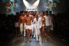 Designer  Jason Scarlatti and models walk the runway finale during 2(X)IST Men's Spring/Summer 2016 Runway Show Royalty Free Stock Images