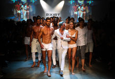 Designer  Jason Scarlatti and models walk the runway finale during 2(X)IST Men's Spring/Summer 2016 Runway Show Stock Photography