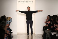 Designer Jonathan Simkhai walks the runway at Jonathan Simkhai fashion show during MADE Fashion Week Fall 2015 Stock Photography