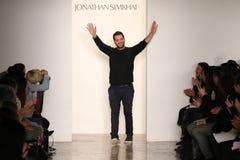 Designer Jonathan Simkhai walks the runway at Jonathan Simkhai fashion show during MADE Fashion Week Fall 2015 Royalty Free Stock Photos
