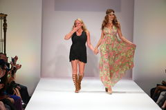 Designer Lainy Gold and model walks the runway finale at the Lainy Gold Swimwear fashion show Royalty Free Stock Photography