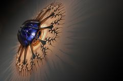 Designer lamp. With blue light casting shadows on the wall Stock Image