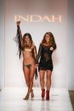 Designer Libby De Santis and model walks runway at the Indah fashion show during MBFW Swim 2015. MIAMI, FL - JULY 21:  Designer Libby De Santis and model walks Royalty Free Stock Image