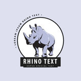 Designer logo with rhinoceros on a blue background Stock Images