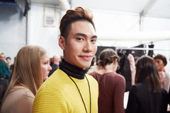 Designer Ly Qui Khanh backstage at the New York Life fashion show during MBFW Fall 2015 Stock Photography