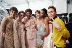 Designer Ly Qui Khanh (R) and  models backstage at the New York Life  show during MBFW Fall 2015 Stock Photos