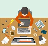 Designer management workplace. Office business designer management workplace with male on the computer  vector illustration Stock Image