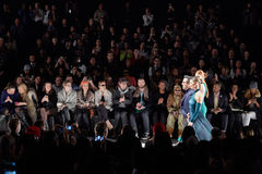 Designer and models walk runway at the Art Heart fashion show during MBFW Fall 2015 Stock Images