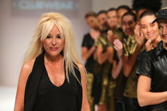 Designer and models walk the runway at the ClubWear fashion show during Spring 2016 New York Fashion Week Royalty Free Stock Image