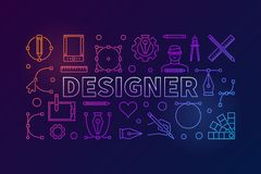 Designer modern vector colorful outline banner. Designer modern vector colorful horizontal illustration or banner in thin line style on dark background Royalty Free Stock Photo