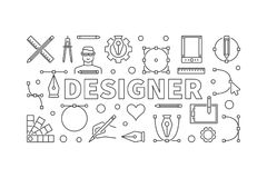 Designer modern vector outline horizontal banner. Designer modern vector horizontal illustration or banner in thin line style Stock Photography