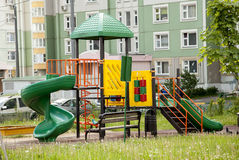 Designer modular playground to play in the yard near the house g Royalty Free Stock Photography
