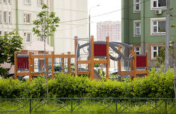 Designer modular playground to play in the yard near the house g Stock Photos