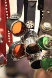 Designer motorcycle goggles closeup Stock Photos