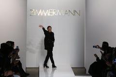 Designer Nicky Zimmerman walk the runway at Zimmermann fashion show during Mercedes-Benz Fashion Week Fall 2015 Royalty Free Stock Photos