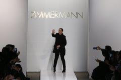 Designer Nicky Zimmerman walk the runway at Zimmermann fashion show during Mercedes-Benz Fashion Week Fall 2015 stock photos