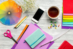 Designer office in profession concept on desk background top view royalty free stock photos