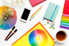 Designer office in profession concept on desk background top view royalty free stock images