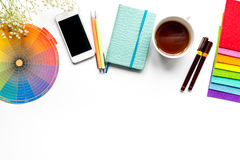 Designer office in profession concept on desk background top view mock-up stock photography