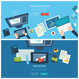 Designer office workspace with tools and devices. Creative process, logo and graphic design, design agency. Top view banner Stock Photos