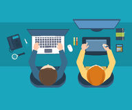 Designer office workspace with tools and devices. Flat design illustration concepts for business analysis and planning, team work, financial report, project Royalty Free Stock Image