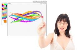 Designer Painting With eine Digital-Bürste Stockfotografie