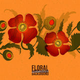 Designer paper with poppy band at orange phone Royalty Free Stock Photography