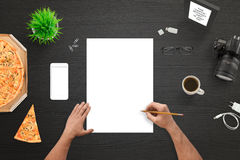 Designer or photographer sketching on empty white paper Royalty Free Stock Photos