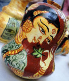 Designer pot. A hand painted clay pot with use of natural colors Royalty Free Stock Photos