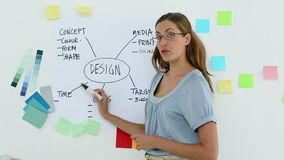 Designer presenting her ideas on a whiteboard stock footage