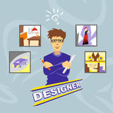 Designer. Profession. Icons. Young man holding a pencil and ruler vector illustration