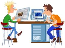 Designer and programmer working. Cartoon illustration of designer and programmer working in office at the computers