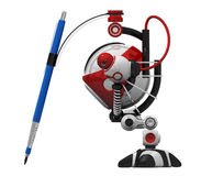 Designer Robot with Mechanical Pencil Stock Images