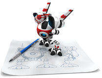 Designer Robot with Mechanical Pencil Royalty Free Stock Images