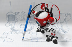 Designer Robot with Mechanical Pencil Stock Photography