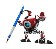 Designer Robot with Mechanical Pencil with Pencil Royalty Free Stock Photos