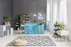 Designer room with kitchen island royalty free stock photography