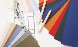 Designer's desk. Color guide and other tools on designer's desk stock photos