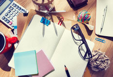Designer's Desk with Architectural Tools and Notebook Stock Photos