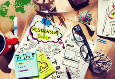 Designer's Desk with Responsive Design Concept Royalty Free Stock Image