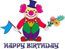 Designer ` s Entscheidungen für eine Geburtstagsfeier, Clown mit Blumen stock abbildung