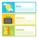 Designer's process of work from idea to result. Idea, digital drawing, design. Royalty Free Stock Images