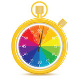 Designer's Stopwatch. Golden analogue stopwatch with a color wheel face. Hands have just started counting. Gradient free illustration Royalty Free Stock Image