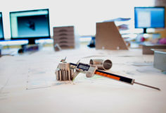 On the designer`s table Stock Photography