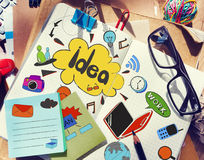 Designer's Table with Notes about Ideas and Tools Stock Photo