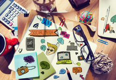 Designer's Table with Social Media Notes and Tools.  royalty free stock photography