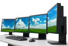 Free Designer S Workplace With Monitors Royalty Free Stock Images - 2104859