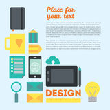 Designer's workspace and stuff. Modern workplace of web designer in creative process or process of development. Modern  background illustration in flat style Stock Photography