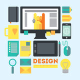 Designer's workspace and stuff. Modern workplace of web designer in creative process or process of development. Modern  illustration in flat style Stock Photos